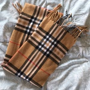 Accessories - Baige Plan Scarf with Fringe
